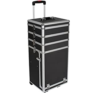TecTake Cosmetics and Make Up Beauty Case Trolley Vanity Box black