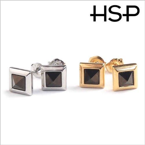 316 l stainless steel Swarovski square pyramid earrings 1 pair silver men's women's