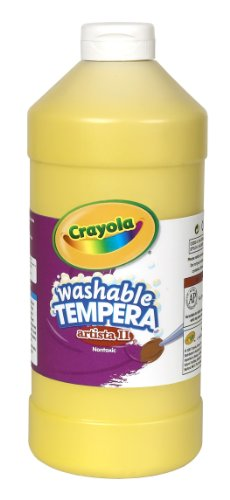 Crayola Tempera Washable Paint 32-Ounce Plastic Squeeze Bottle, Yellow - 1