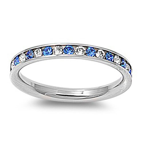 Size 4, 3MM Stainless Steel Clear & Blue CZ Channel Set Eternity Wedding Band (Size 4 to 10)