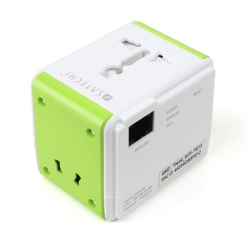 Satechi USBポート付きスマートトラベル Wi-Fi ルーター (iOS, Android, Windows, Blackberry, MP3 デバイスなどの充電用)アメリカ、カナダ、メキシコ、欧州連合(EU)、オーストラリア、ニュージーランド、香港、中国対応 (ルーター付き)