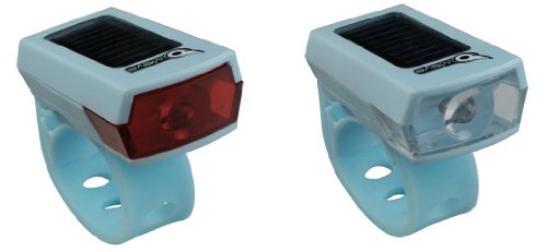 Owleye Twinpack Solar Powered LI-ion Rechargeable LED Headlight & Taillight Set Blue. BE SAFE - BE SEEN !!