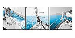 Canvas Print Wall Art Painting For Home Decor Sailboat On Gocek Marina Beach In Aegean Coast Of Turkey Sailing On A Calm Blue Sea Motorboat With Mountains In Background 3 Pieces Panel Paintings Modern Giclee Stretched And Framed Artwork The Picture For Li