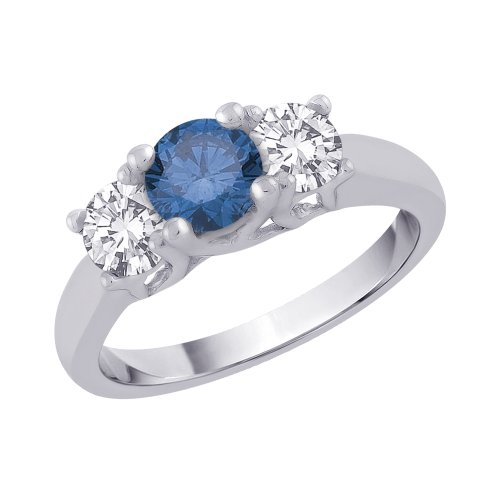 Sterling Silver 3/4 ct. Cubic Zirconia and 1 1/5 ct. Blue Color Stone Anniversary Ring