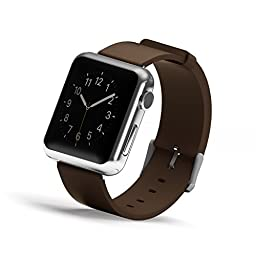 Apple Watch Band, Wearlizer Genuine Leather Watch Strap Replacement w/ Metal Clasp for Apple Watch all Models 42mm Classic Buckle - Brown