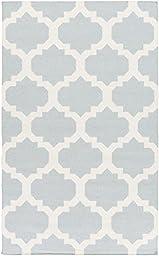 Blue Rug Contemporary Design 4-Foot x 6-Foot Hand-Made Trellis Flatwoven Carpet
