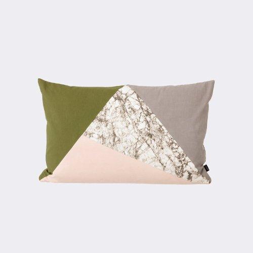 Fusion Triangle Cushion - Olive/Marble