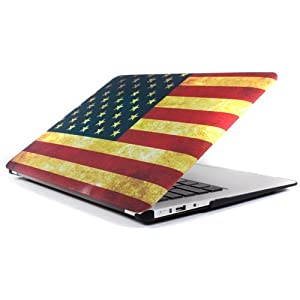 "Mosiso - AIR 13-inch Vintage US United States Flag Rubberized Hard Case Cover for Apple MacBook Air 13.3"" (Models: A1369 and A1466) (US Flag) from Mosiso"