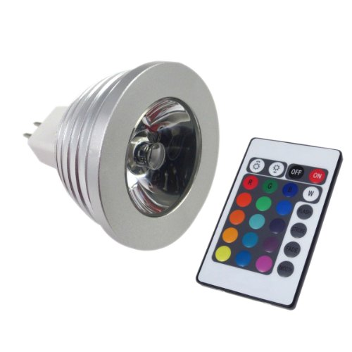 Lemonbest® Energy Saving 3W Mr16 Rgb 16 Colors Flash Party Led Bulb Lamp Spot Downlight Xmas 12V + 24Key Ir Remote