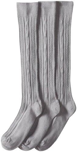 Jefferies Socks Big Girls'  School Uniform Acrylic Cable Knee High  (Pack of 3), Grey, Medium
