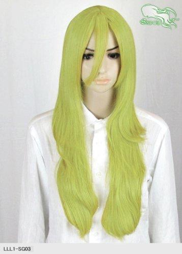 スキップウィッグ 魅せる シャープ 小顔に特化したコスプレアレンジウィッグ フェザーロング スプリンググリーン
