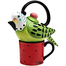 Appletree 7-1/4-Inch Ceramic Green Parakeet Tea For One