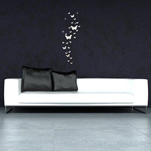 eenkula 30PC Wall Stickers Moderne Papillon Living Room 3D Autocollants muraux Miroir Acrylique Mur Combinaison Bricolage Décoration