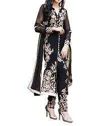 SalwarSaloon Women's Georgette Long Anarkali Unstitched Salwar Suit Dress Material(black_cut_SS_Black)