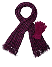 M&S Collection Chenille Houndstooth Scarf & Gloves Set