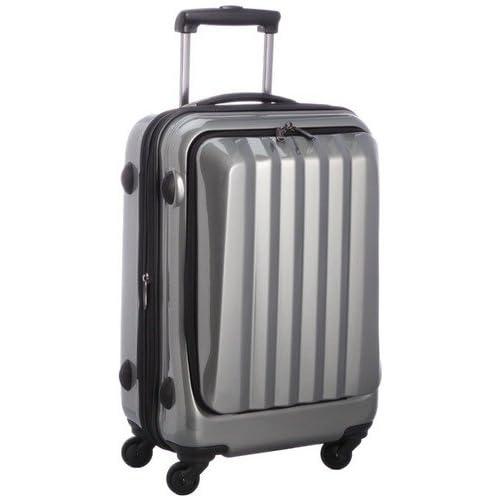 容量アップ拡張ジッパー付フロントオープンスーツケース グレー