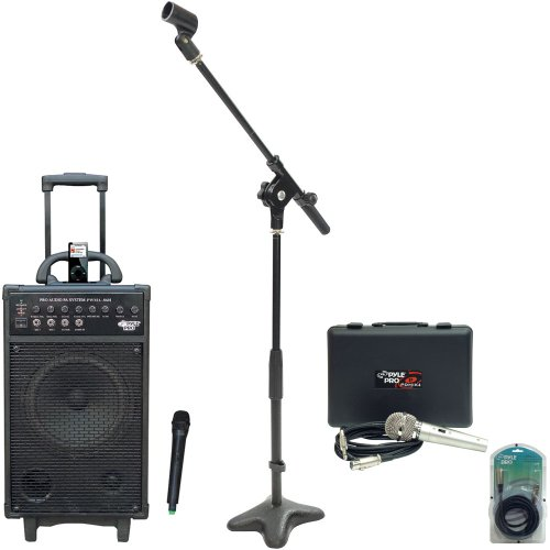 Pyle Speaker, Mic, Stand And Cable Package - Pwma860I 500W Vhf Wireless Portable Pa System /Echo W/Ipod Dock - Pdmik4 Dynamic Microphone With Carry Case - Pmks7 Compact Base Microphone Stand - Ppfmxlr15 15Ft. Xlr Male To Xlr Female Microphone Cable