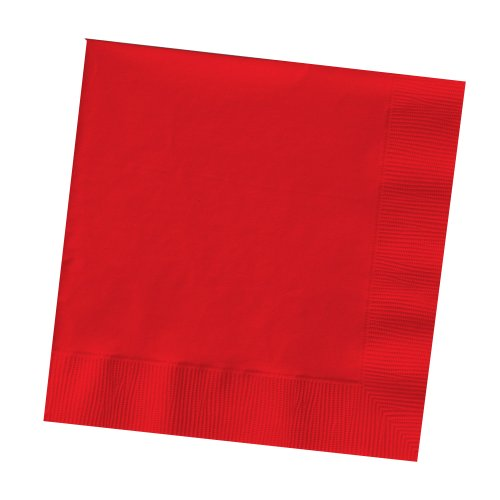 Creative Converting Touch of Color 200 Count 2-Ply Paper Beverage Napkins, Classic Red