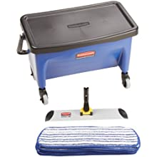 Rubbermaid Commercial RCPQ050 27-Gallon Microfiber Floor Finishing System, Blue/Black/White