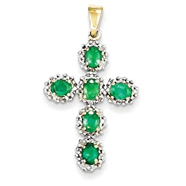 14k White or Yellow Gold Diamond & Emerald Cross Pendant