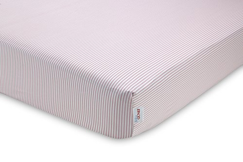 GUND Babygund Stripes Deluxe 300 Thread Count Crib Sheet, Stripes - Popsicle Pink, 28'' By 52''