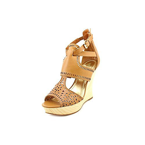 Guess Agenta Womens Size 8.5 Tan Open Toe Leather Wedges Heels Shoes front-510884