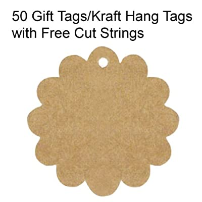 Wrapables 50/100 Gift Tags/Kraft Hang Tags with Free Cut Strings for Gifts, Crafts & Price Tags - Flower
