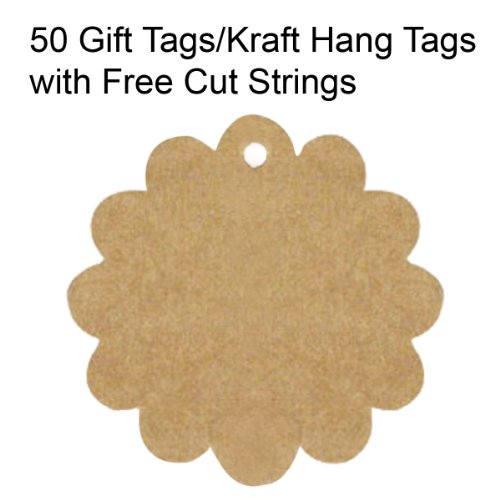 Wrapables 50 Gift Tags/Kraft Hang Tags with Free Cut Strings for Gifts Crafts and Price Tags, Flower