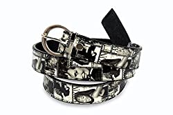Women white and black print belt