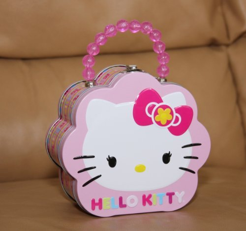 Hello Kitty Flower Tin Purse w/ Embossed Cover and Beaded Handle
