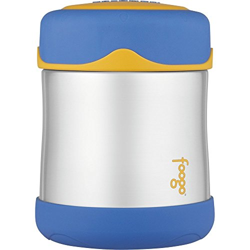 THERMOS FOOGO Vacuum Insulated Stainless Steel 10-Ounce Food Jar, Blue/Yellow (Baby Food In Jars compare prices)