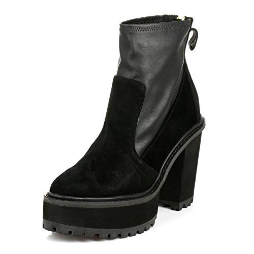 Shellys Donna Nero Bidocchio Cuoio & Scamosciato Heeled Scarpe-UK 8