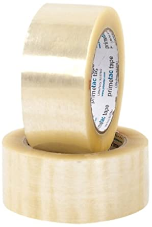 """Pratt Plus 620 Industrial Standard Economy Hot Melt Adhesive Tape, 1.9 mil Thick, 110 yds Length x 2"""" Width, 3"""" Core, Clear (Pack of 36)"""