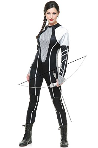 [Mememall Fashion Hunger Games Women Survivor Jumpsuit Adult Costume] (Latex Wolf Suit)