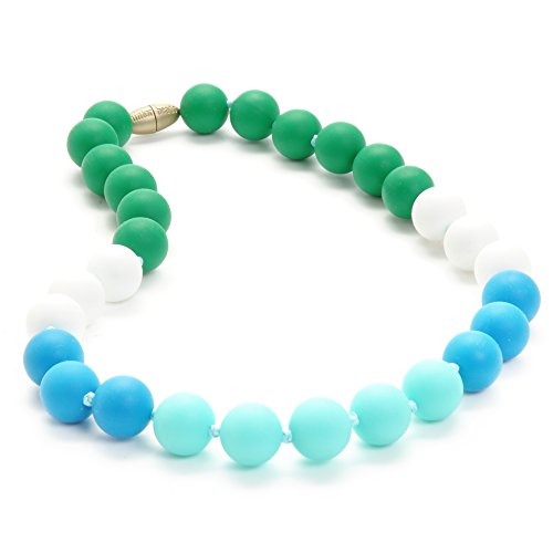 Chewbeads Jr. Bleecker Necklace - Teething Jewelry - 9 Inch Length - Turquoise