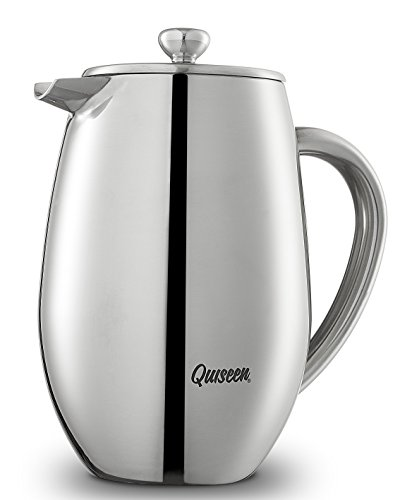 Quiseen Double Wall Stainless Steel French Press Coffee & Espresso Maker, 1 Liter - 34-Ounce (8 ...