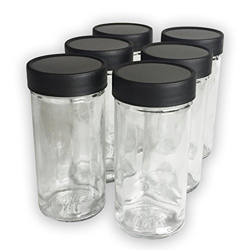 4 Ounce Glass Spice Jars with Black Plastic Lids and 3 Styles of Shaker Tops-- 6 Pack (Paragon Glass Jar compare prices)