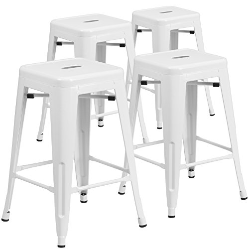 Flash Furniture 24-Inch High Backless White Metal Indoor-Outdoor Counter Height Stool with Square Seat, 4-Pack