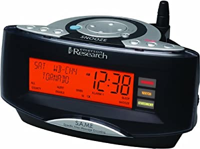 Emerson Radio CKW2000 Dual Alarm Clock Radio with NOAA/Same Weather Alert System (Black) from Emerson