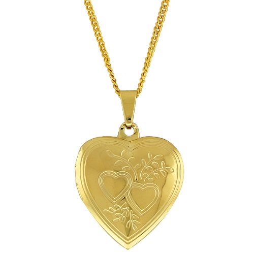 Stunning Gold Tone Double Heart Locket Figaro Pendant With 18