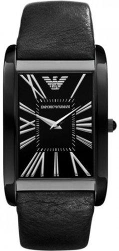 Emporio Armani Men's AR2060 Black Calf Skin Quartz Watch with Black Dial