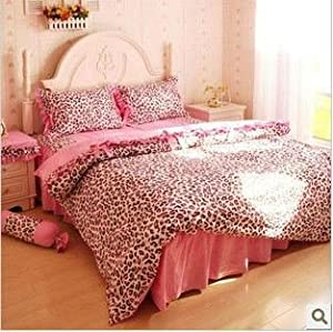 Amazon.com - Perfectos 4pcs Queen Size Cute Classic Pink Leopard ...