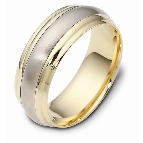 10K Two-Tone Gold, Step Edged Domed 8MM Wedding Band (sz 6.5)