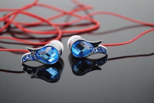 Kabb Premium 3.5Mm Blue Wings Diamante Diamond Stereo Handsfree Headset Earbuds Earphones Headphones With Mic +2 Earplug+1 Fishbone Earphone Cable