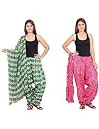 Rama Set Of 2 Printed Pink & Green Colour Cotton Full Patiala With Dupatta Set