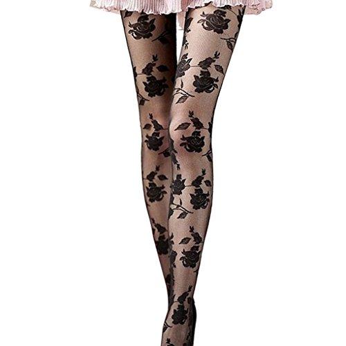 Damen-StrumpfhosenAnglewolf-Frauen-Mode-transparenter-Spitze-Rose-gedruckt-Strumpfhosen-Oberschenkel-hohen-Strmpfen-3-Farben-Schwarz