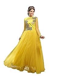 Parinaaz fashion Yellow soft net fabric Unsticht Dressmaterial