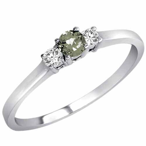 DivaDiamonds 18ct Gold Round 3 Stone Green Amethyst and Diamond Ring (0.25 cttw)
