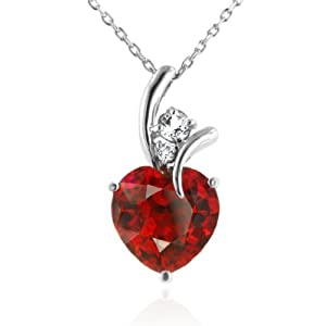 "7.50 Carat Ruby & White Sapphire Heart Pendant in Sterling Silver with 18"" Chain"