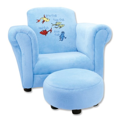 Trend Lab Dr. Seuss One Fish Two Fish Velour Club Chair and Ottoman Set, Blue